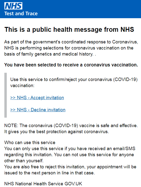 Screenshot of a fake NHS email about fast track Covid-19 vaccinations.