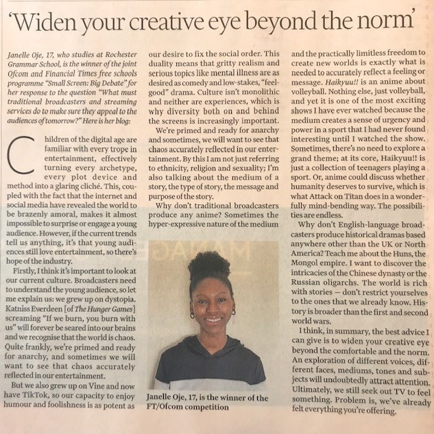 Financial Times article featuring our Small Screen: Big Debate competition winner Janelle Oje