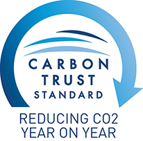 Carbon Trust Standard logo, with tagline: reducing CO2 year on year