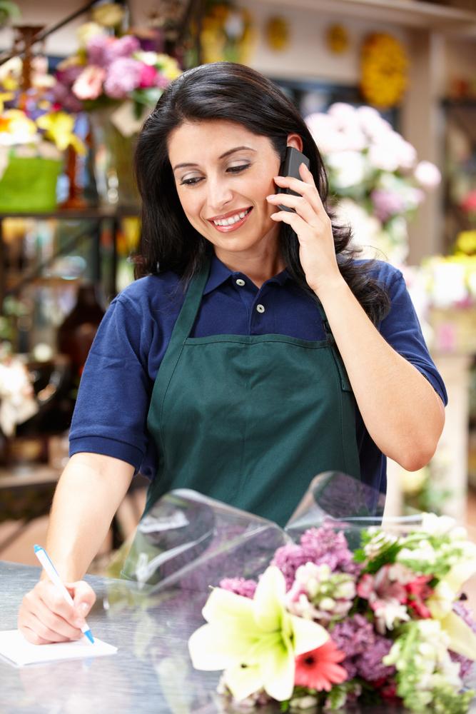 Florist on phone