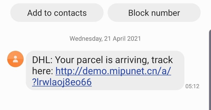 "Screenshot of a text message which claims to be from DHL. In fact it is a scam text. The text reads: ""DHL: Your parcel is arriving, track here:"", followed by a link."