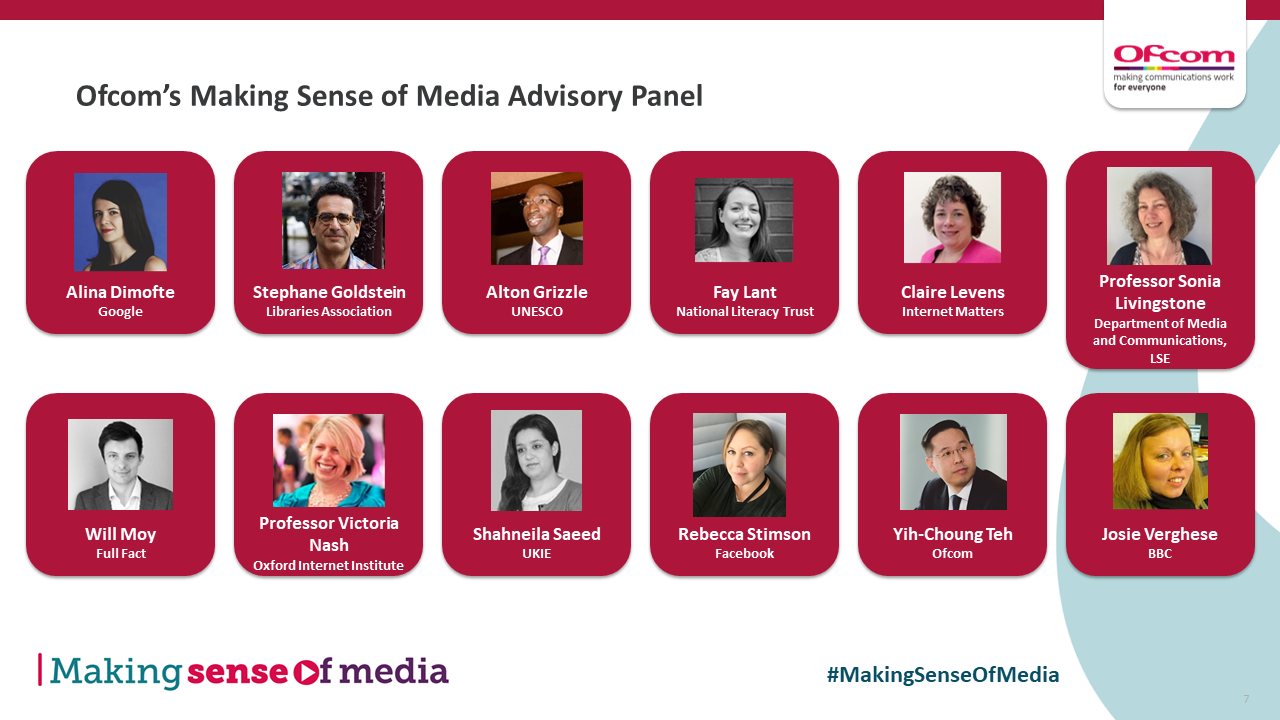 The Making Sense of Media Advisory Panel brings together 11 expert representatives from across industry, the third sector and academia.